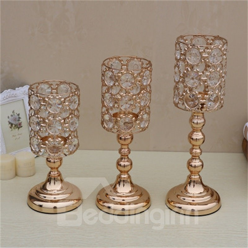 Creative and Fashion European Style Hollowed-out Crystal Candle Holder
