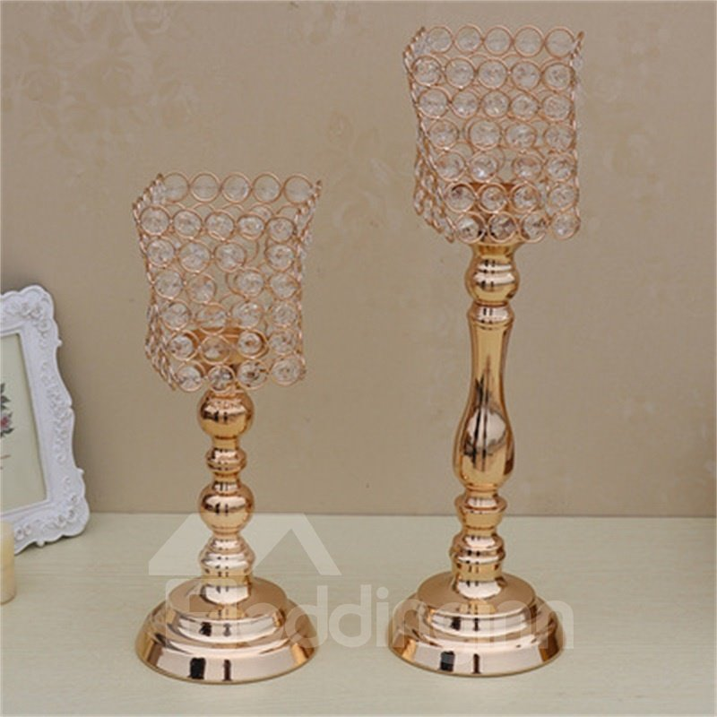 Modern and Concise European Style Golden Crystal Irregular Home Decoration Candle Holder