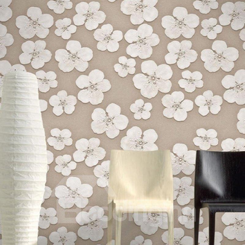 3D White Flowers Printed PVC Sturdy Waterproof Eco-friendly Self-Adhesive Wall Mural