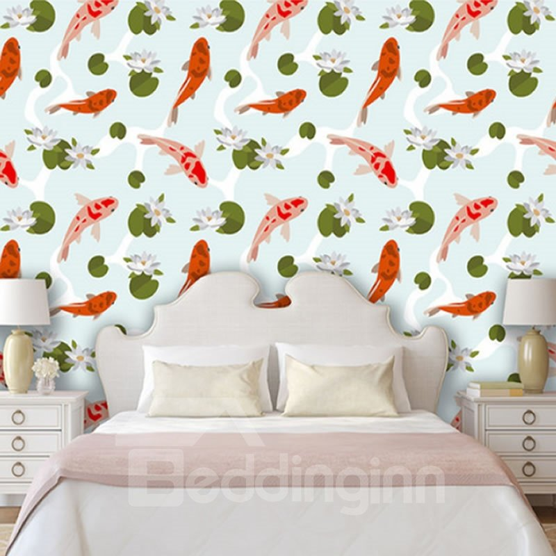 3D Fishes and Lotus Printed PVC Sturdy Waterproof Eco-friendly Self-Adhesive Wall Mural