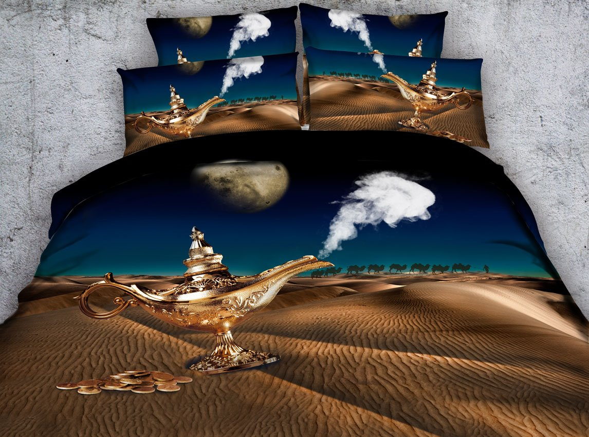3D Lamp of Aladdin under the Moonlight Printed 4-Piece Bedding Sets/Duvet Covers