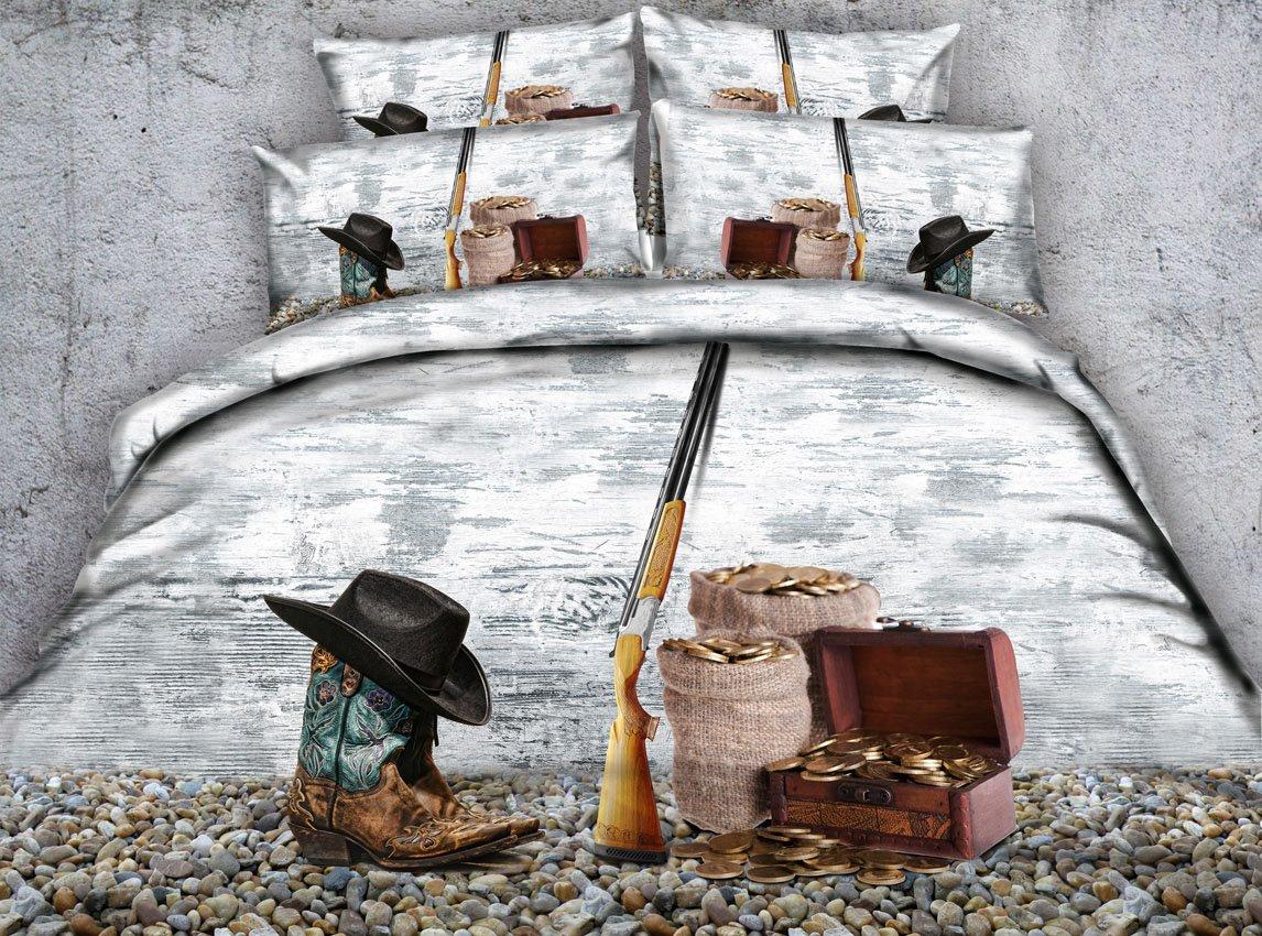 Cowboy Hat and Gun Printed 4-Piece 3D Bedding Sets/Duvet Covers