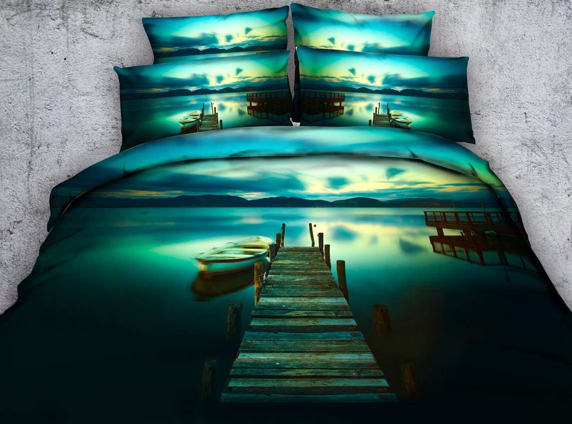 Jetty and Canoe Printed 3D 4-Piece Bedding Sets/Duvet Covers