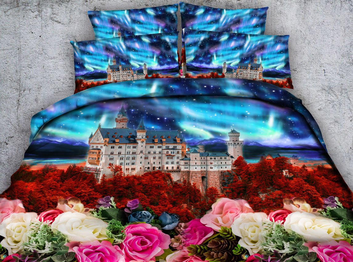 Colorful Floral and Castle Printed 3D 4-Piece Bedding Sets/Duvet Covers
