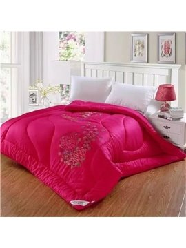 Full Size Solid Color Floral Embroider Cotton Winter Thick Quilt