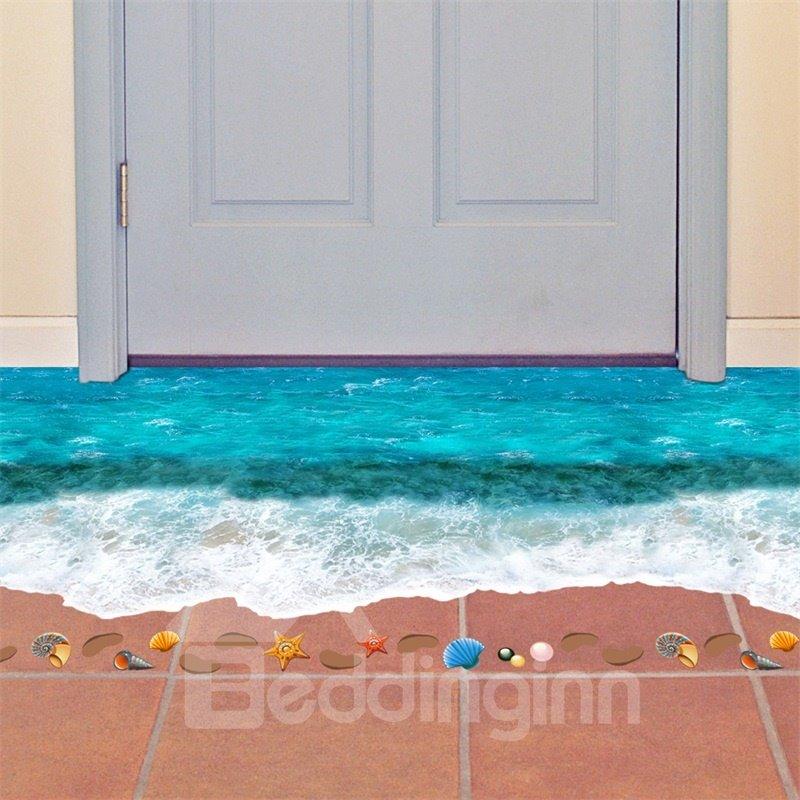 3D Blue Beach Printed PVC Waterproof Eco-friendly Floor Stickers