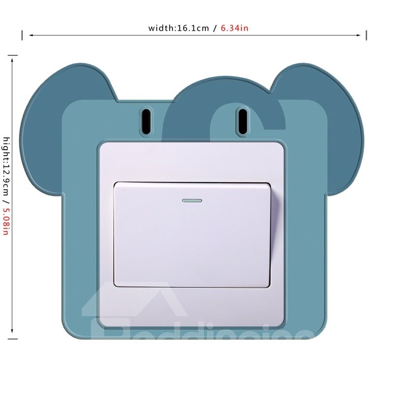 3D Elephant Head Printed PVC Waterproof Eco-friendly Self-Adhesive Switch Wall Stickers