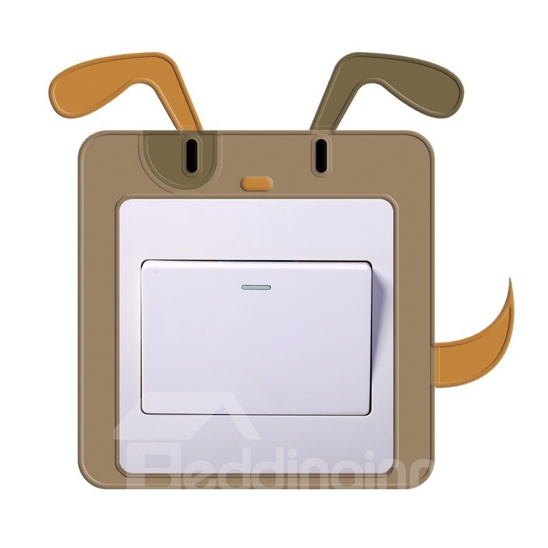 3D Dog Head Printed PVC Waterproof Eco-friendly Self-Adhesive Switch Wall Stickers