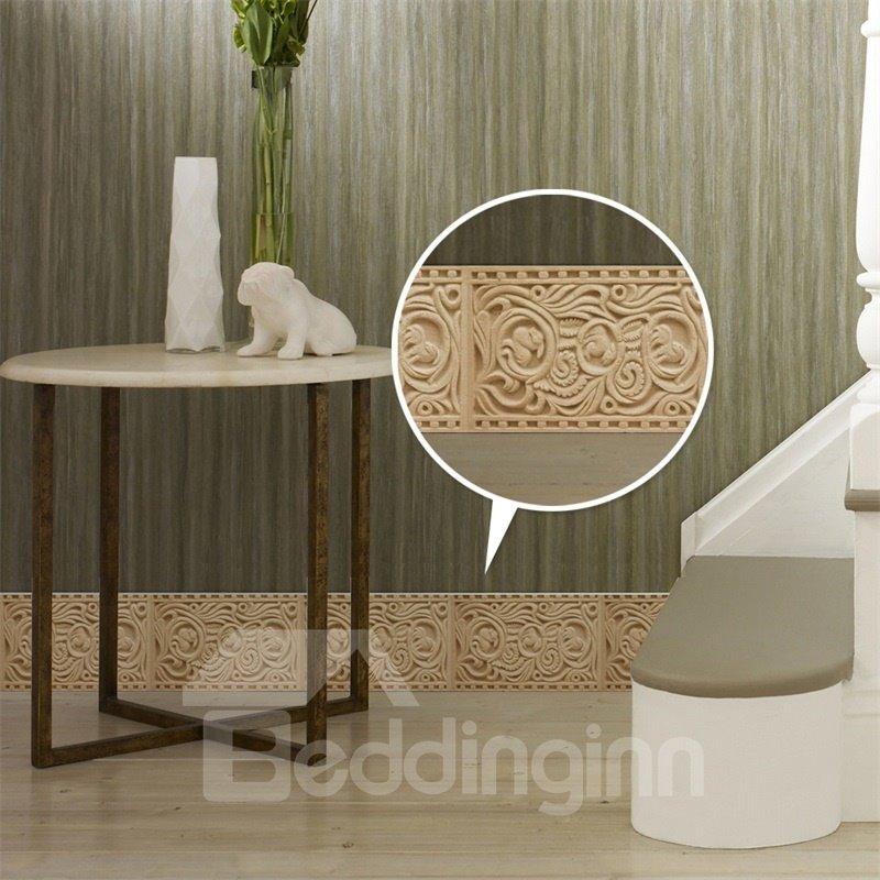 3D Beige Floral Pattern PVC Waterproof Eco-friendly Self-Adhesive Wall Stickers