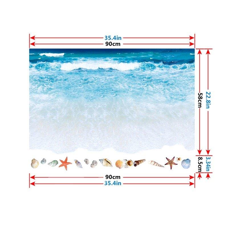 3D Beach Pattern PVC Waterproof Eco-friendly Floor Stickers