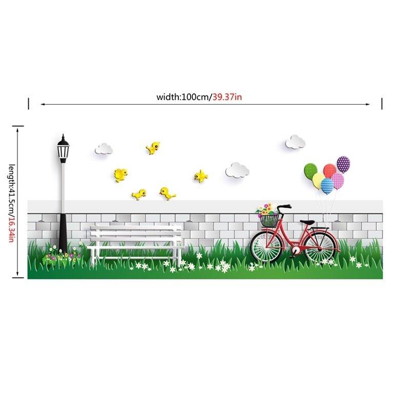 Bike Bench on Lawn Printed PVC Waterproof Eco-friendly Baseboard Wall Stickers