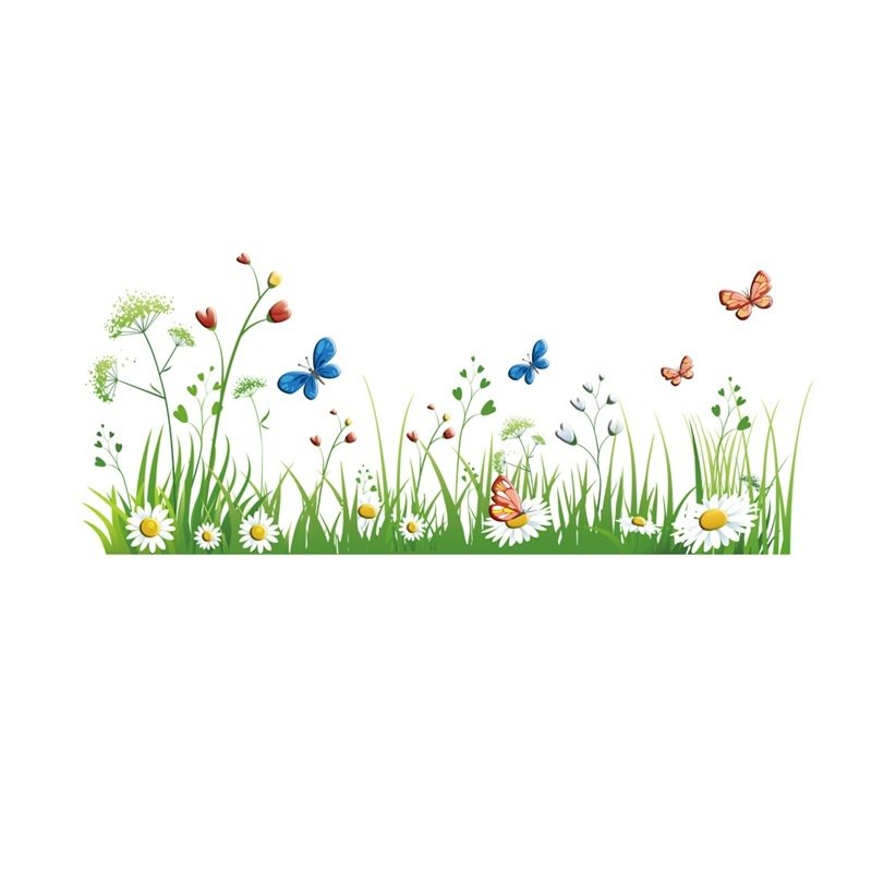 Green Grass Printed PVC Waterproof Eco-friendly Baseboard Wall Stickers