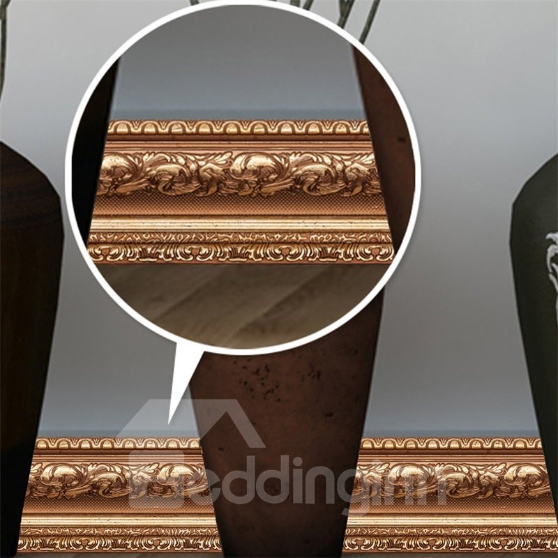 Bronze Floral Pattern PVC Waterproof Eco-friendly Self-Adhesive Baseboard Wall Stickers