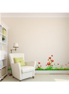 Green Grasses Red Flowers Printed PVC Waterproof Eco Friendly Baseboard Wall  Stickers