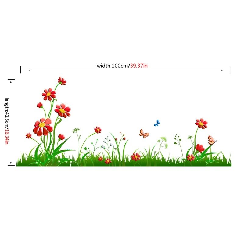 Green Grasses Red Flowers Printed PVC Waterproof Eco-friendly Baseboard Wall Stickers