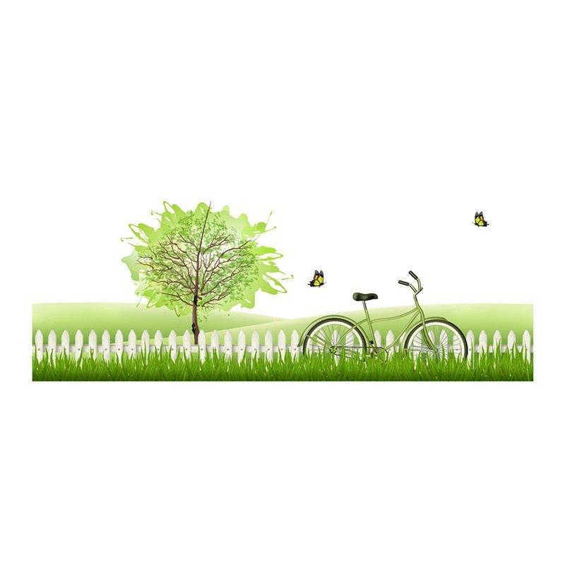 Green Lawn Trees Printed PVC Waterproof Eco-friendly Baseboard Wall Stickers