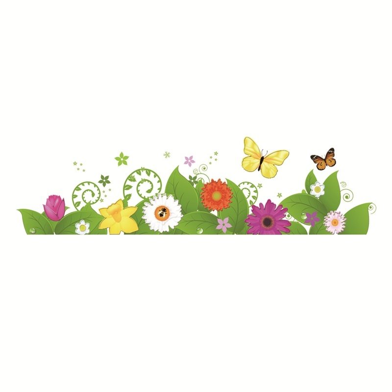 Flowers Grass Printed PVC Waterproof Eco-friendly Baseboard Wall Stickers