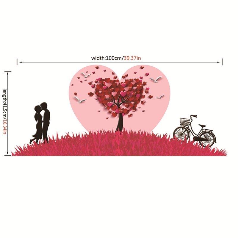 Red Petals Couple Bike Pattern PVC Waterproof Eco-friendly Baseboard Wall Stickers