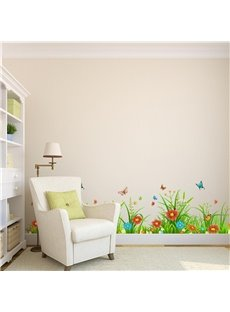 Flowers Butterflies Grasses Printed PVC Waterproof Eco-friendly Baseboard Wall Stickers