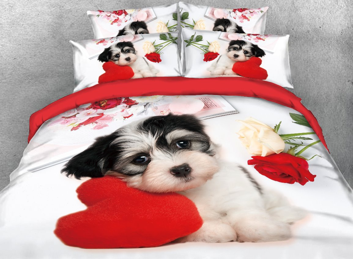 Puppy Dog with Heart-shaped Pillow Printed 4-Piece 3D Bedding Sets/Duvet Covers