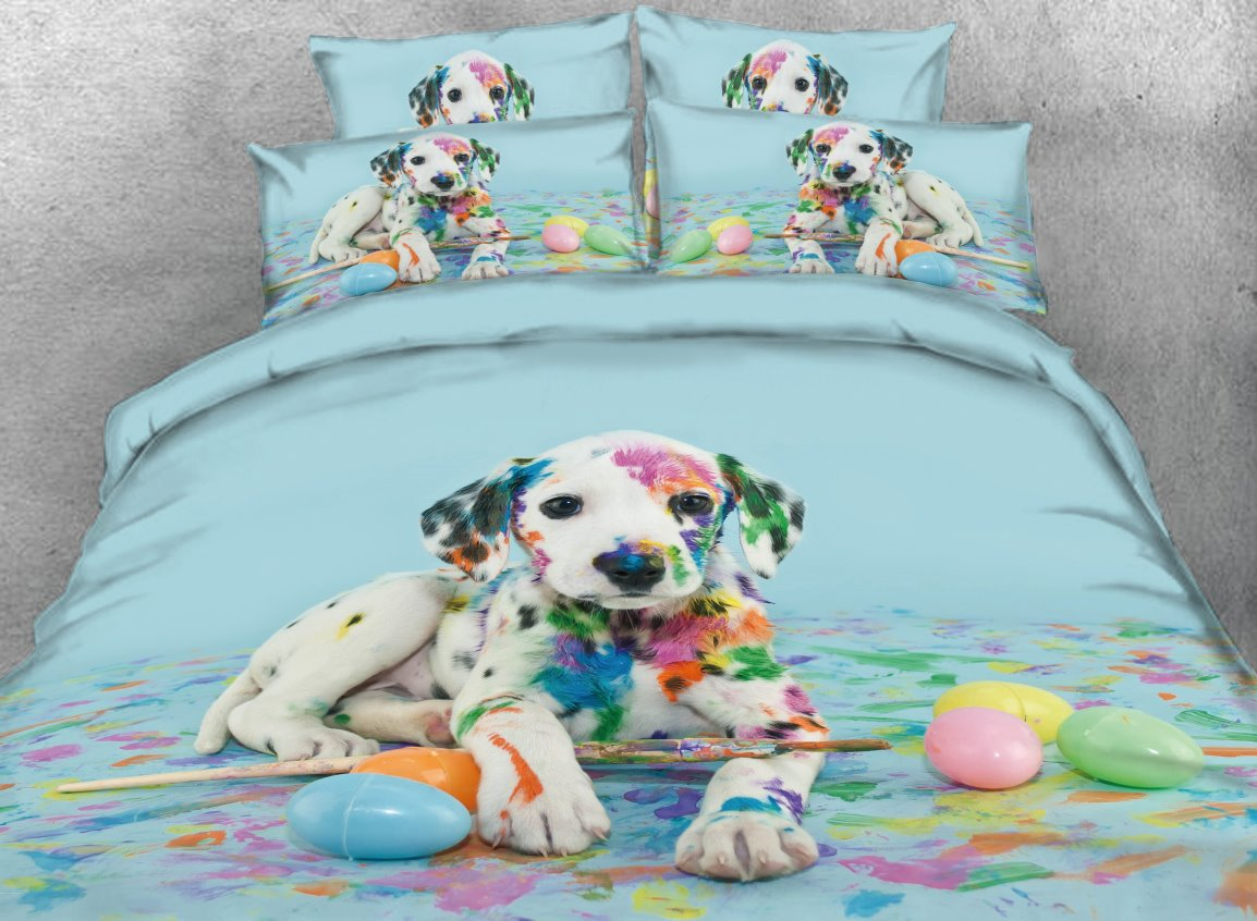 Onlwe Colorful Dalmatian Dog Printed 4-Piece 3D Bedding Sets/Duvet Covers