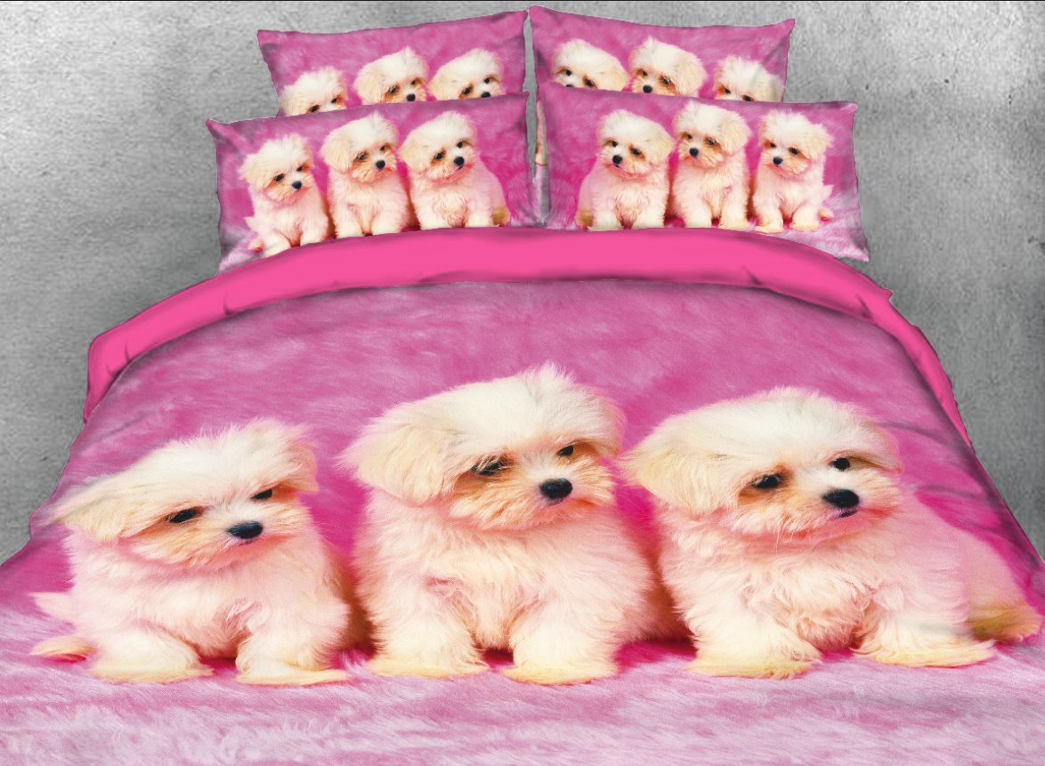 White Puppies Printed 3D 4-Piece Bedding Sets/Duvet Covers
