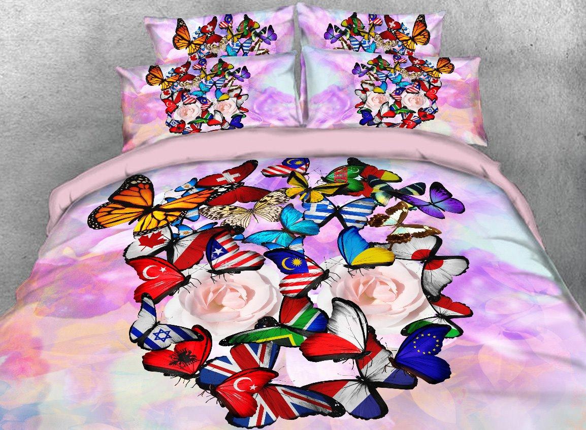 Colorful Flag Butterflies Printed 4-Piece 3D Bedding Sets/Duvet Covers