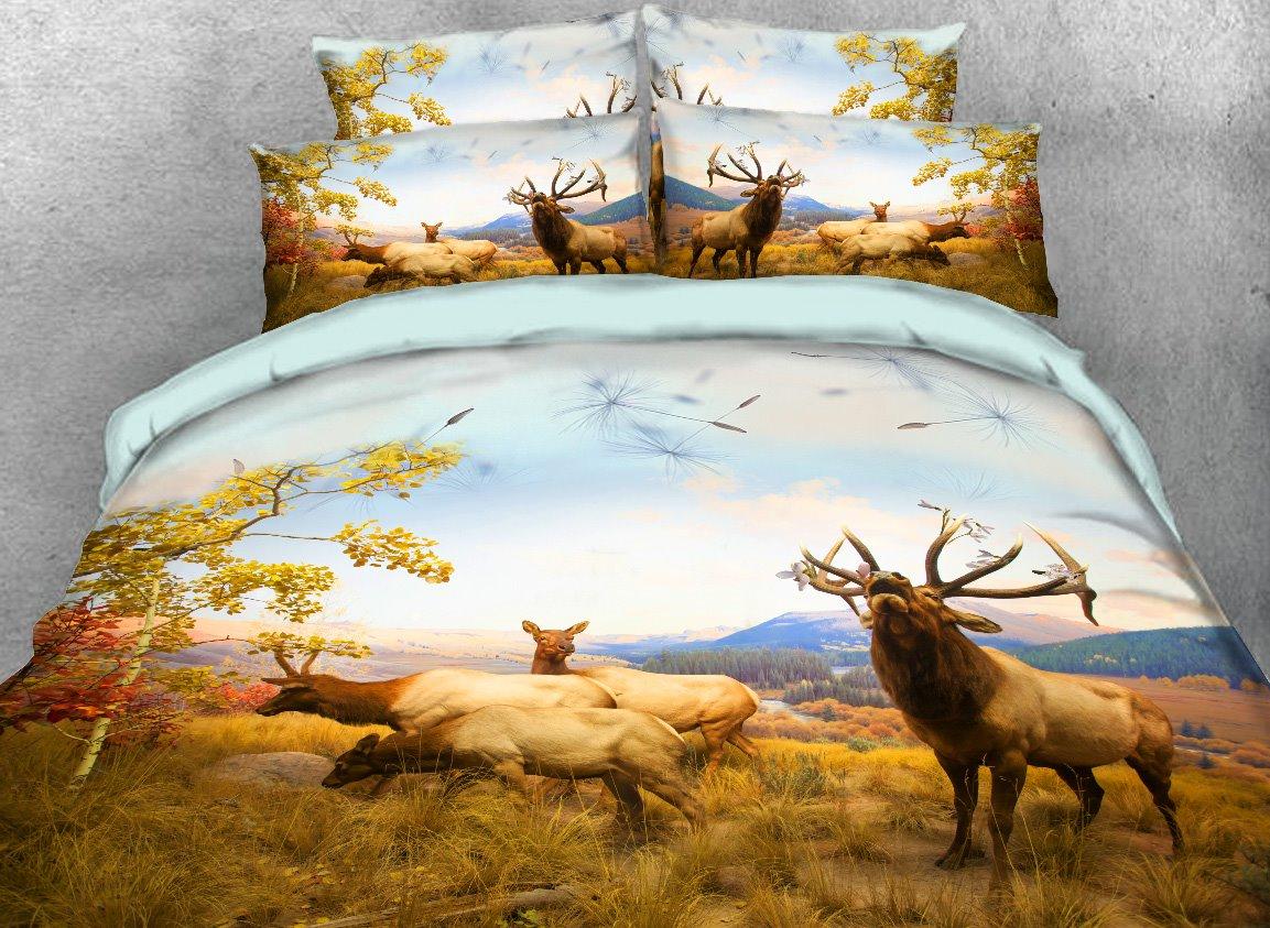 Onlwe 3D Elk Family On the Autumn Grassland Printed 4-Piece Bedding Sets