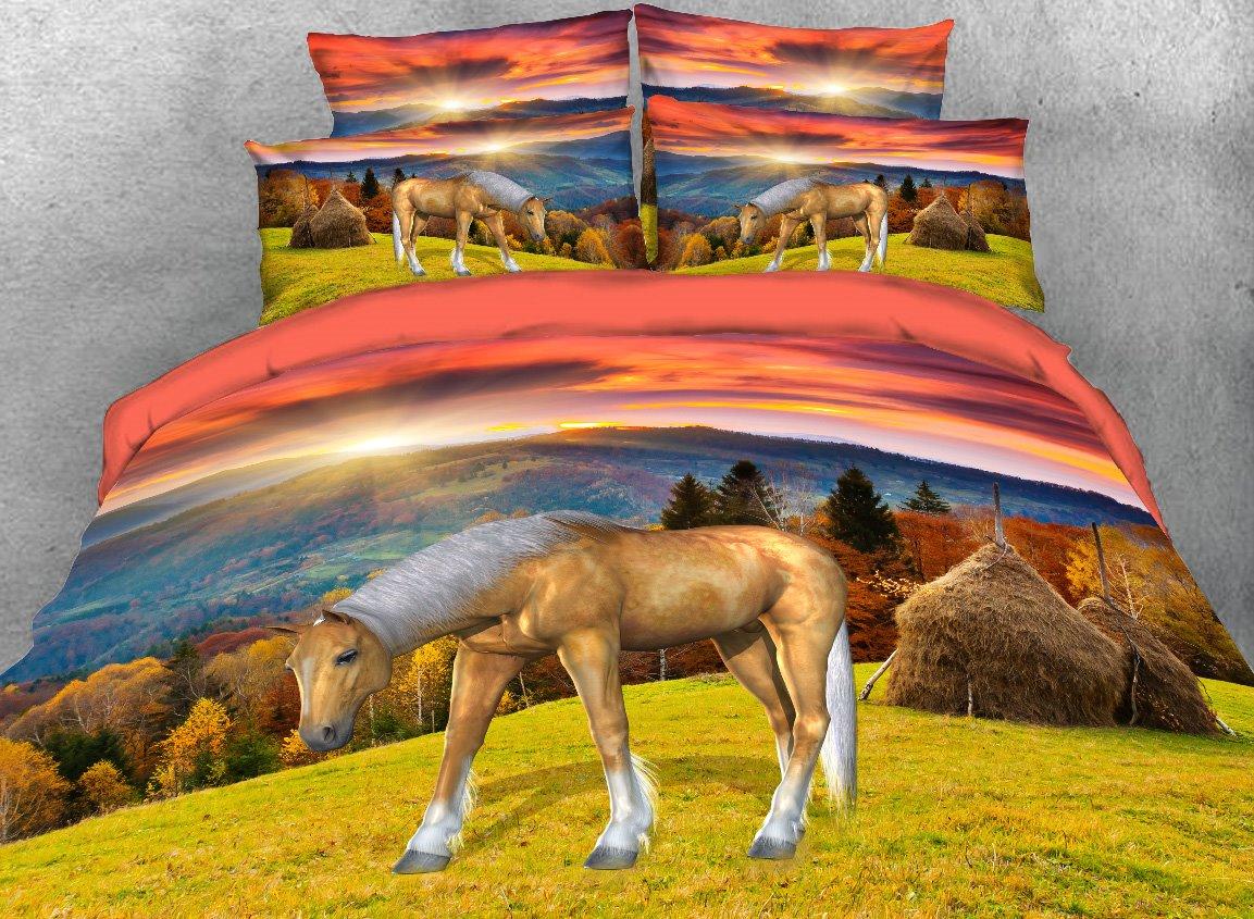 Vivilinen Horse in Autumn Grassland Printed 4-Piece 3D Bedding Sets/Duvet Covers