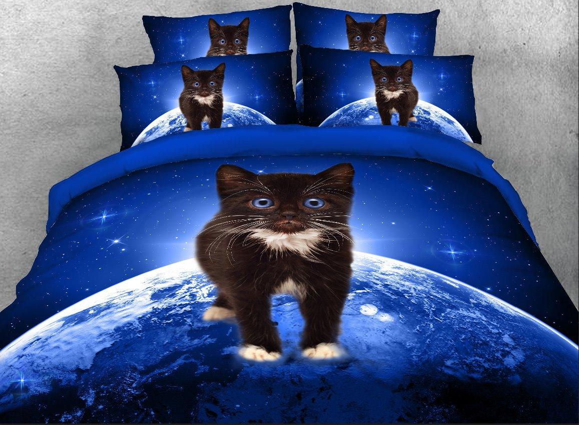 Black Kitten on Planet Printed 4-Piece 3D Bedding Sets/Duvet Covers