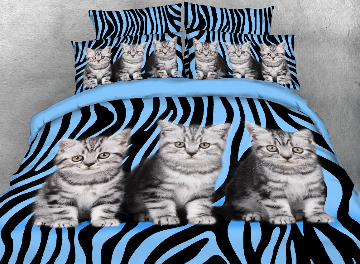 Kittens and Zebra Pattern Printed 4-Piece 3D Bedding Sets/Duvet Covers
