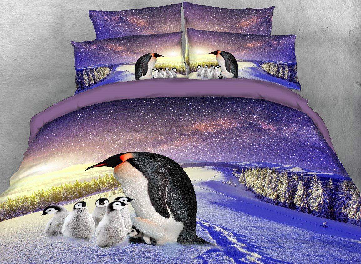 Vivilinen Mother and Baby Penguins Printed 4-Piece 3D Bedding Sets/Duvet Covers