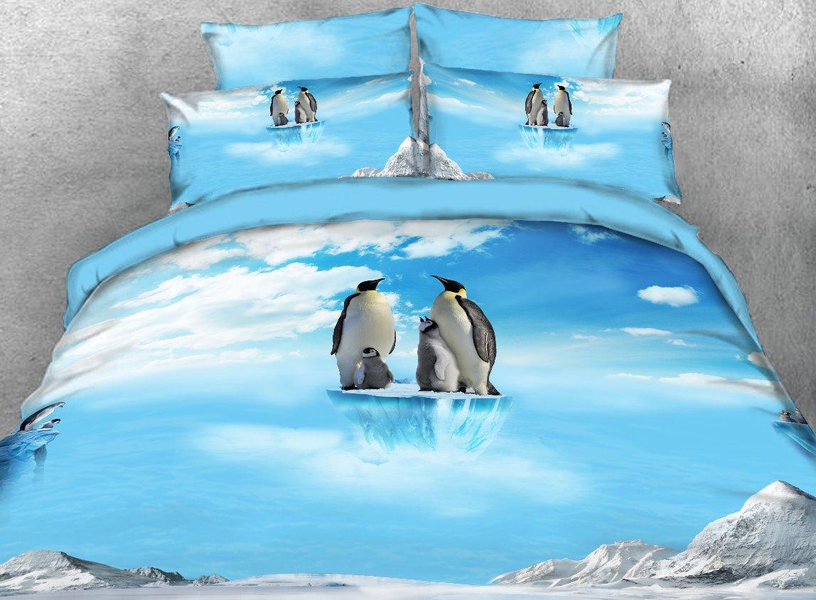 Vivilinen Penguin Family on Ice Printed 4-Piece 3D Bedding Sets/Duvet Covers