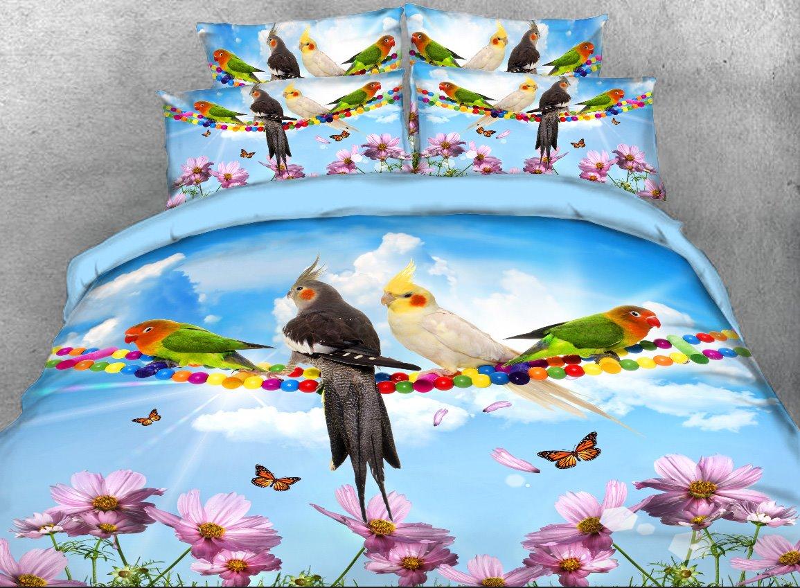 Vivilinen Parrots and Butterflies Printed 4-Piece 3D Bedding Sets/Duvet Covers