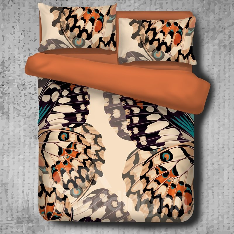 Digital Printed Butterflies Vintage Style Polyester 4-Piece Bedding Sets/Duvet Cover