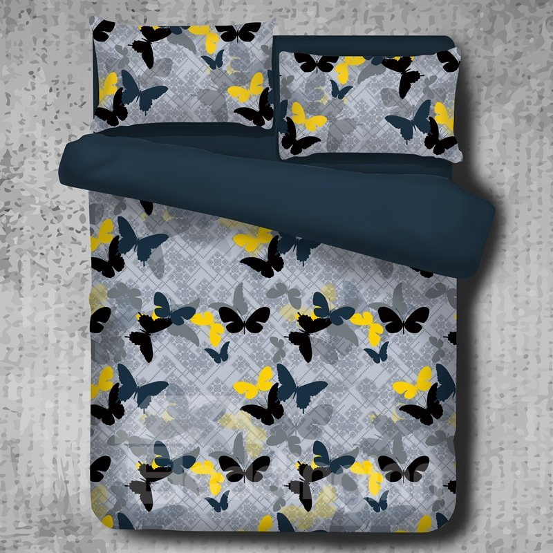 Black Yellow and Blue Butterflies Pattern Luxury Style Polyester 4-Piece Bedding Sets/Duvet Cover