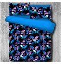 Magical Blue and Pink Morpho Butterflies Printed Polyester 4-Piece Bedding Sets/Duvet Cover