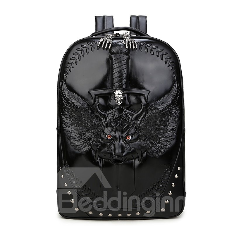 3D Animal Sword Studded Backpack PU Leather Shoulder Bag