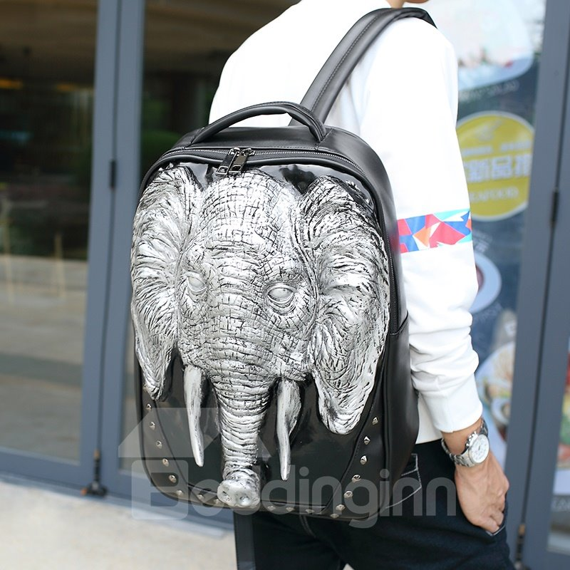 3D Elephant Head Studded Backpack PU Leather Rucksack Shoulder Bag