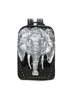 3D Elephant Head Studded Backpack PU Leather Rucksack Shoulder Bag