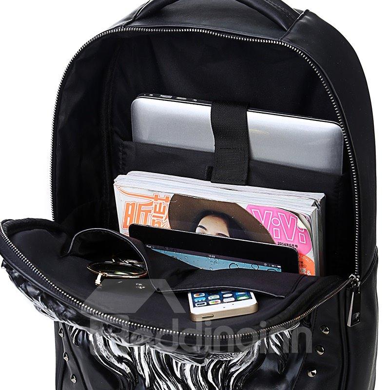 3D Lion Face Studded Backpack PU Leather Rucksack Shoulder Bag