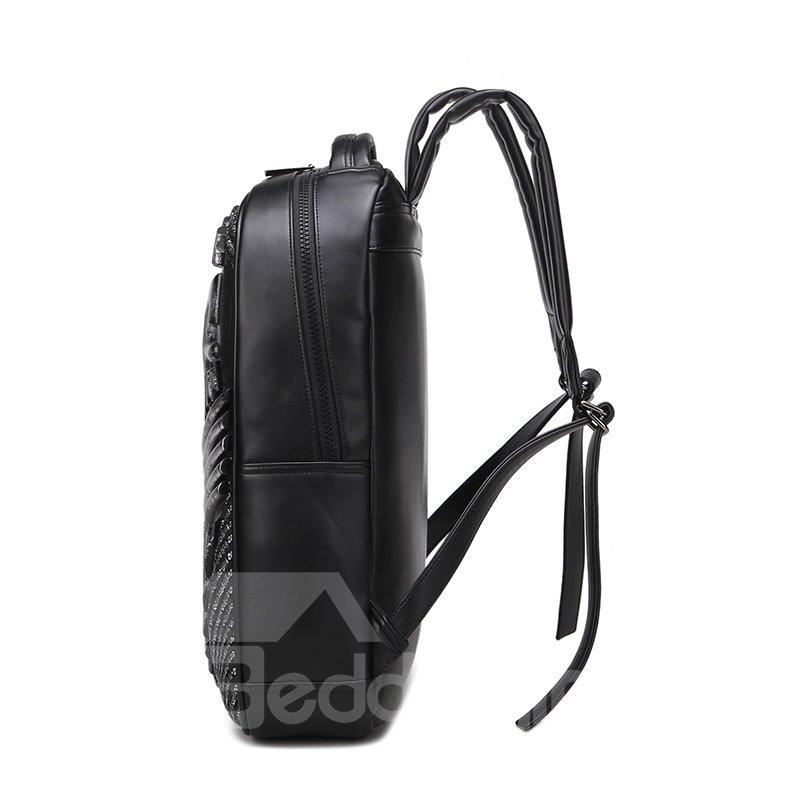 3D Shield Painting Studded Backpack PU Leather Shoulder Bag