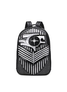 3D Shield Painting Studded Backpack PU Leather Shoulder Bag