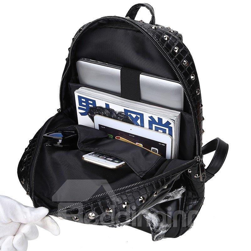 3D Crown Skull Studded Backpack PU Leather Shoulder Bag