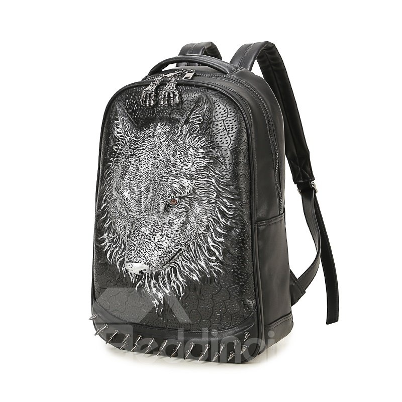 3D Wolf Head Cool Studded Backpack PU Leather Shoulder Bag