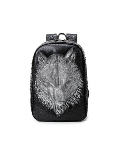 3D Wolf Face Studded Backpack PU Leather Shoulder Bag