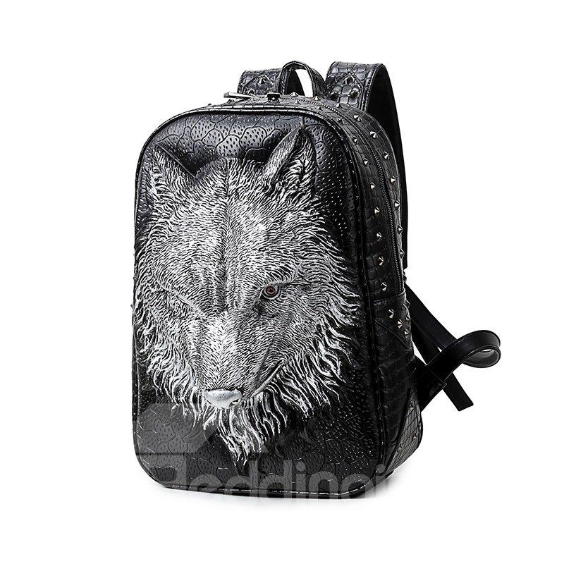 3D Wolf Face Studded Backpack PU Leather Shoulder Bag