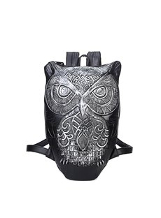 3D Cute Owl Studded Backpack PU Leather Shoulder Bag