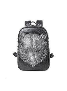 3D Bear Face Studded Backpack PU Leather Rucksack Shoulder Bag