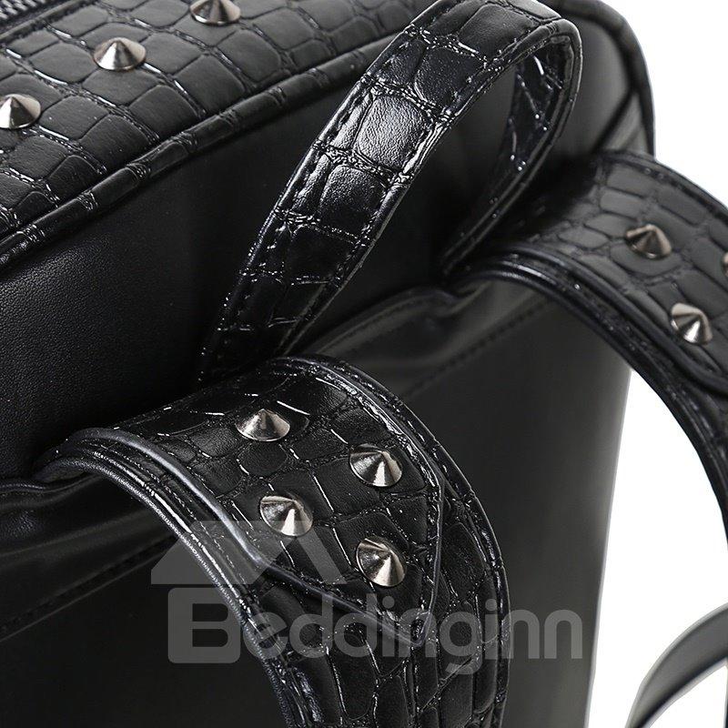 3D Bear Face Studded Backpack PU Leather Rucksack Shoulder Bag